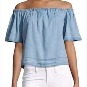 AG denim/ chambray off the shoulder top